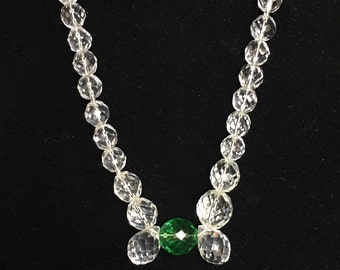Extra Long Vintage Checkerboard Cut Crystal Bead Necklace With Green Accent