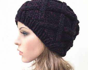 Hand Knit woman Hat wool Beret Hat Black/Red hat