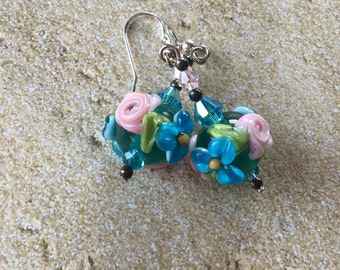 Blue Lampwork Floral Earrings with Blue and Pink Flowers, Lampwork Jewelry, Gift For Her