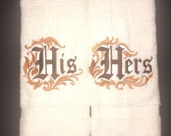 His and Hers Towel Set - Damask