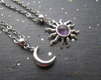Amethyst Sun and Moon Necklace, Double Layer Necklace, Moon Sun Necklace, Boho chic Necklace, Moon Sun Jewellery, Sun Necklace, Sun Pendant
