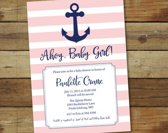 Anchor baby shower invitation in navy and pink - nautical baby girl shower invitation - ahoy baby girl printable invitation