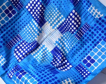 Vintage Mod Blue Print Scarf 30 inches Square