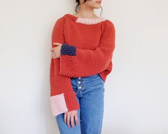Extra Long Sleeve Chunky Patch Jumper