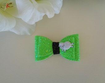 Green Glitter Hair Bow with Sheep Embellishment, Glitter Hair Bow, Hair Bow, Hair Accessory, Hair Clip, Girl's Hair Bow, Child's Hair Clip