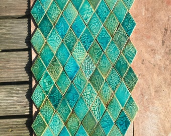 0.2 sqm Green and Aqua Textured Diamond-shaped Stoneware Tiles *Seconds*