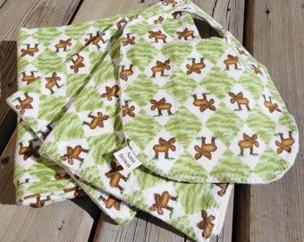 Baby Gift Set: Baby Blanket, Bib, Burp Cloth - Flannel Moose