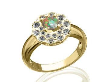5mm Australian Black Opal & Diamond Galaxy Ring in 14K or 18K Gold 0.95TCW Sku: R2318