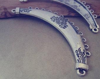 4pcs Antique silver Arc shape pendant charm 21mmx97mm