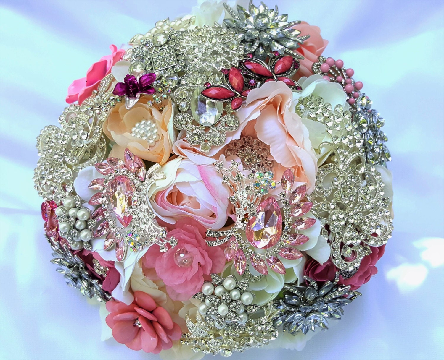 Full Price Large Flower And Brooch Bouquet White Ivory Cream Silver