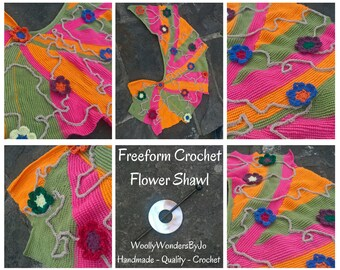 Handmade 'Freeform' Crochet Shawl