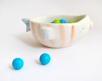 Ceramic Fish Bowl , Decorated with Red Stripes and Blue Details. Ready To Ship