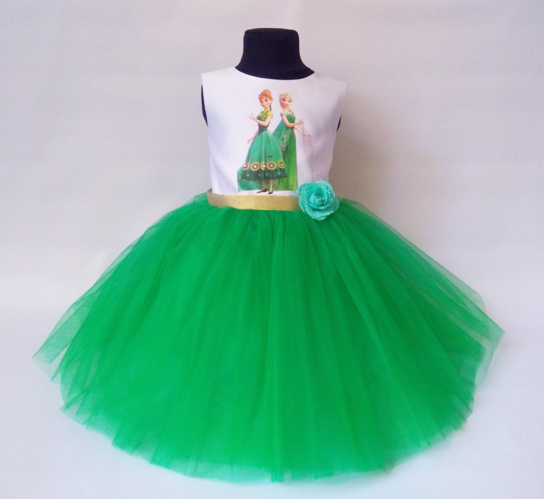 Weiche grüne gefrorene Geburtstag Kleid Anna und Elsa Kleid