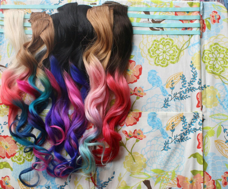 Custom Ombre Dip Dyed Hair Clip In Hair Extensions Tie Dye