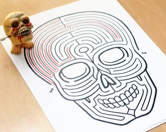 SKULL Maze / Instant DOWNLOAD Printable PDF / Fun Activity for All Ages / Hand-drawn