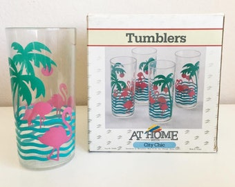 NOS Vintage Flamingo & Palm Tree Plastic Tumblers by Montgomery Ward