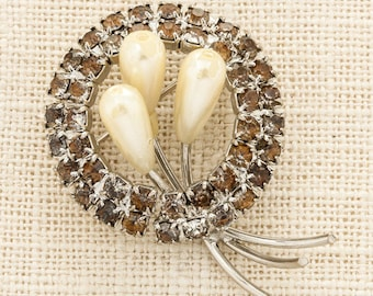 Silver Pearl and Amber Rhinestone Brooch Vintage Round Broach Costume Jewelry  Pin 6Y