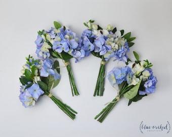 Bridesmaid Bouquet, Wedding Bouquet, Wedding Flowers, Faux Bouquet, Silk Flowers, Boho Bridesmaid Bouquet, Blue Hydrangea Bouquets, Bundles