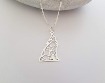 Silver Wolf Necklace | Origami Wolf | 925 Sterling Silver Necklace | Origami Pendant | Howl at the Moon | Howling Wolf | Animal Lover