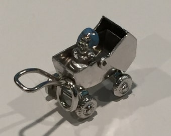Moveable Sterling Baby Buggy Charms - CA 1960's - Item# CH372 & CH373