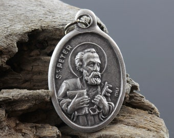 Saint Peter and St. Paul Religious Patron Saint Medal - Silver Oxidized 1 inch Die Cast Metal Made in Italy