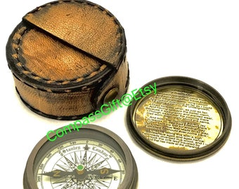 Marine  Brass Pocket Compass with Leather Case