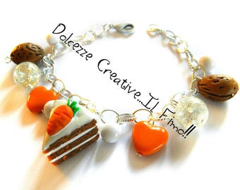 Bracelet cake with icing in polymer clay carrot - Carrot Cake american Style with beads and