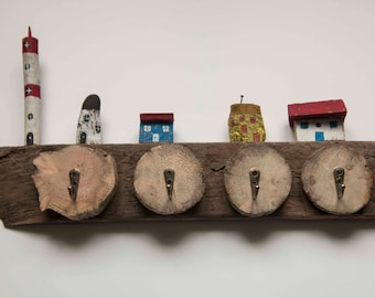 Hook keys Driftwood with brass hook
