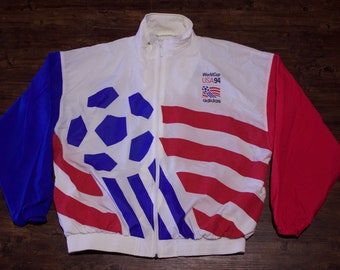 1994 Adidas USA World Cup Soccer Full Zip Windbreaker Jacket Size Large