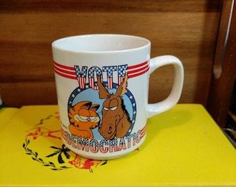 "Vintage Garfield ""Vote Democratic""  ""Vote Garfield"" 1978 Enesco Mug"