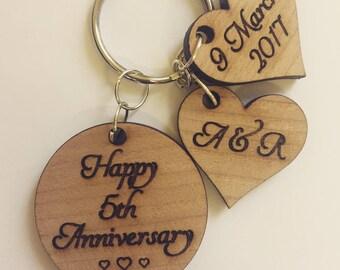 Wedding anniversary key ring personalised
