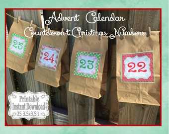 Printable Advent Calendar Numbers Countdown to Christmas Stickers or Tags Red Green ~ DIY Instant Download ~ 25 3.5 x 3.5 Squares