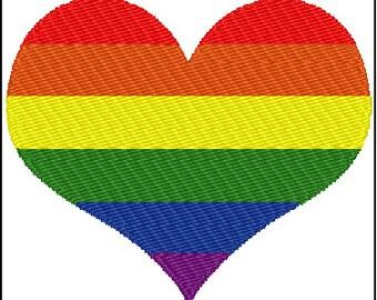 Gay Pride Rainbow Heart Embroidery Design