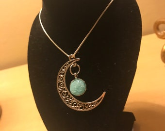 Moon Crescent Necklace With Stone Pendant