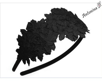 Headband lace dark blue black grey white blue blossoms aliceband