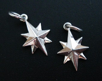 Sterling Silver Charms, 925 Sterling Silver Northstar Charm - Northern Star - Star Charms, Bracelet Charms - 13 mm (1 pc)  - SKU: 201268
