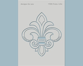 """Wall template, template 7500 """"French Lily"""" for e.g. canvases, furniture, as tattoo,..."""