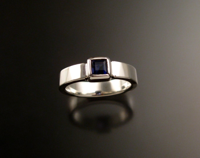 Iolite Deep blue Sapphire substitute square stone sturdy bezel set stone ring Sterling Silver Handmade