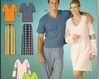 Simplicity 4327 Misses, Men's or Teens Pants and Knit Nightshirt Or Top Pattern, Size XS-XL, UNCUT