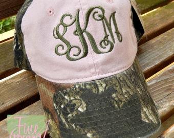 LADIES Monogram Pink Camouflage Baseball Cap Hat Bridesmaid Bride Bachelorette Summer Beach Hunting