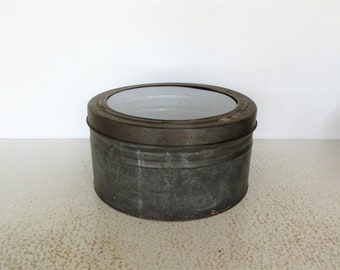 "12"" Antique Round Metal Tin with Glass Lid Biscuit Box Display Case Military Hat Storage"