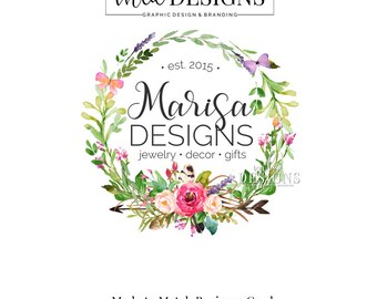 Floral Wreath Logo - Watercolor Wreath Logo, Arrow Logo, Butterfly Logo, Custom Premade Logo,  Watercolor Logo, Floral Logo, Branding