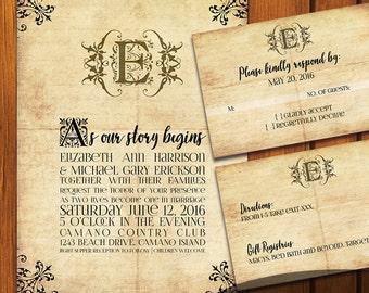 Fairytale Wedding / Vintage Wedding Suite / Old Paper Wedding Invitation / Fairy tale  / vintage / fairytale / Anniversary / Wedding