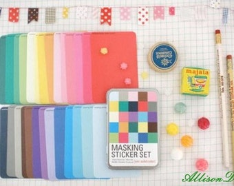 27 Sheets Masking Stickers in an Iron Box -- Korean Stickers -- Diary Stickers -- Solid Ver