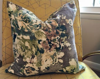 Blue, Green, Grey and Brown Floral Pillow Covers / Custom Handmade Home Decor Accent / Covington Venus Cindersmoke Designer Fabric