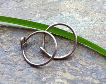 20g tiny earrings-- sterling silver, gold fill or niobium hoop earrings-- primitive series-- handmade by thebeadedlily
