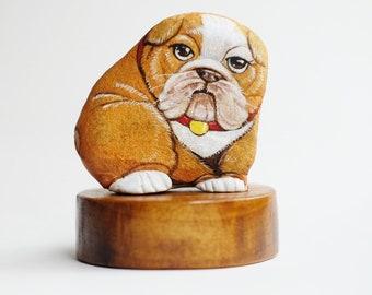 English Bulldog  stone painting, Rock Art Paint by Acrylic Colour, original art, Unique.