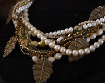 Vintage Autumn Necklace. 1960s Multi-strand Mix.