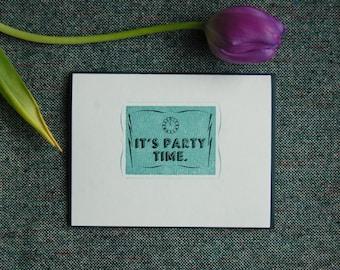 Party Time Letterpress Card - Birthday Card, Graduation Card, Congratulations Card, Retirement Card, Teal Letterpress Art Deco