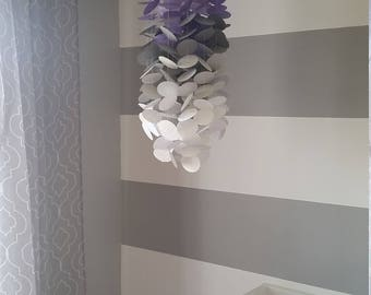 Paper mobile in lilac, purple, gray and white. Girls room Nursery. Decoration for children's rooms. Decorative paper mobile.